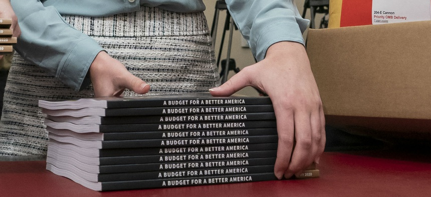 Office of Management and Budget staff delivers President Donald Trump's 2020 budget outline to the House Budget Committee on Capitol Hill in Washington, Monday, March 11.