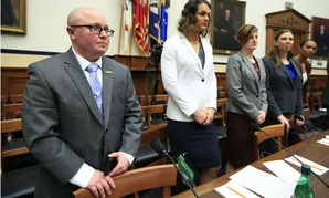 From left, transgender military members Navy Lt. Cmdr. Blake Dremann, Army Capt. Alivia Stehlik, Army Capt. Jennifer Peace, Army Staff Sgt. Patricia King and Navy Petty Officer Third Class Akira Wyatt, attend a February hearing on Capitol Hill.