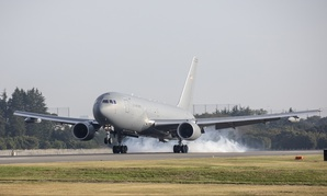 A Boeing KC-46A Pegasus touches down at Yokota Air Base, Japan, Oct. 23, 2018.