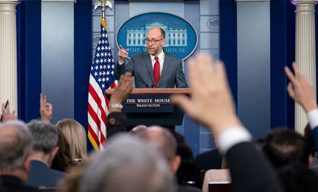 Acting Director of the Office of Management and Budget Russell Vought discusses President Trump's priorities during a press briefing on March 11 at the White House.