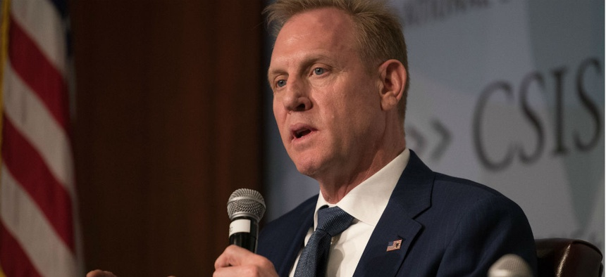 Acting Defense Secretary Patrick Shanahan speaks at the Center for Strategic and International Studies Wednesday.