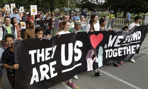 """The """"March for Love"""" following last week's mosque attacks in Christchurch, New Zealand, March 23."""
