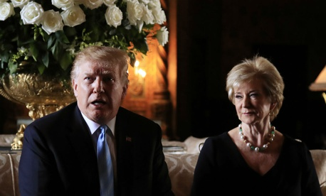 President Trump announces the resignation of Small Business Administration Administrator Linda McMahon during a news conference at his Mar-a-Lago estate in Palm Beach, Fla., on March 29.