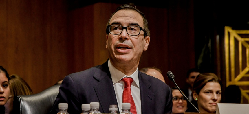 Steven Mnuchin testifies in front of the Senate Finance Committee in 2017.