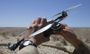 U.S. Marine Corps 2nd Lt. Michael Francica, with Combat Logistics Battalion 8, Combat Logistics Regiment 2, 2nd Marine Logistics Group, pilots an InstantEye quadcopter during an operations check for Marine Corps Warfighting Laboratory, April. 29, 2018.