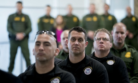 U.S. Customs and Border Patrol agents and agents-in-training listen to Vice President Mike Pence speak at the U.S. Customs and Border Protection Advanced Training Facility in Harpers Ferry, W.Va., on March 13.