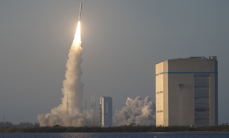 An Atlas V rocket launches from Launch Complex 41 at Cape Canaveral Air Force Station. The base is not listed as a candidate for U.S. Space Command.