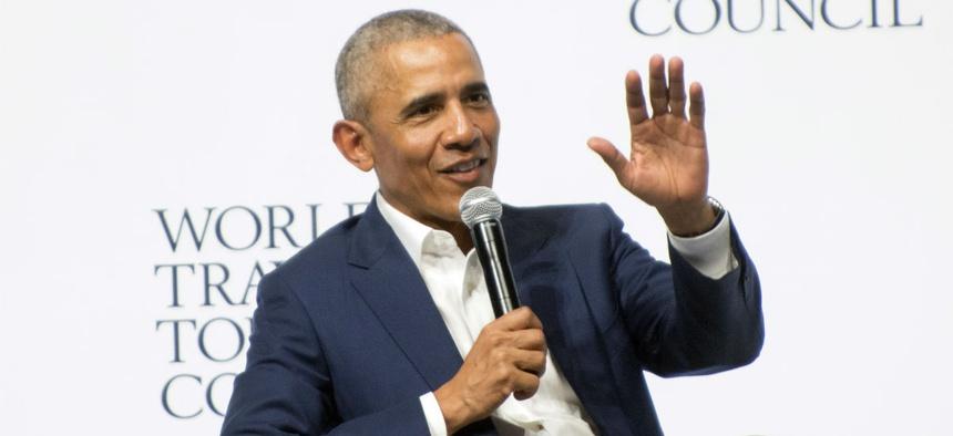Former President Obama speaks in Seville, Spain in early April.
