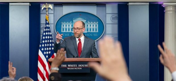 Acting Director of the Office of Management and Budget Russell Vought answers reporters questions during a press briefing on March 11.