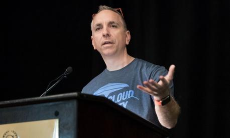 Defense Digital Service Director Chris Lynch speak during the JEDI Cloud Industry Day in Arlington, Va. March 7, 2018.
