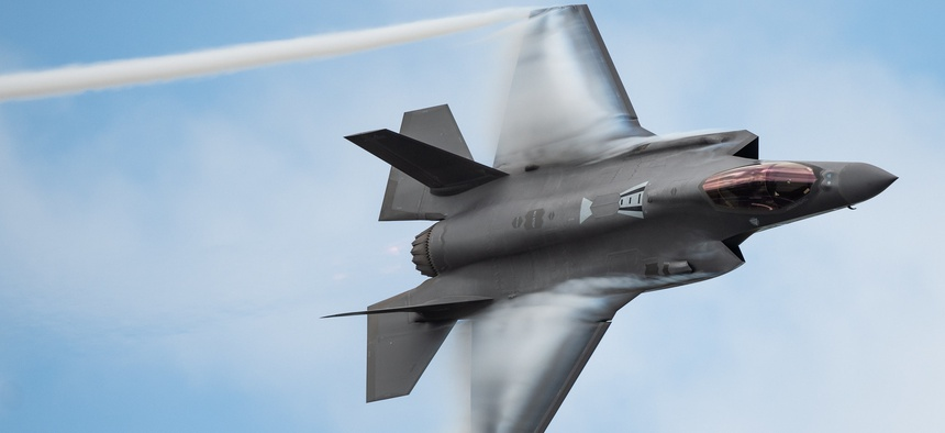 A U.S. Air Force F-35 Joint Strike Fighter flies at an air show in Melbourne, Florida.