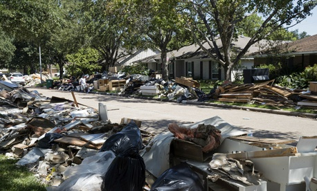 Debris from Hurricane Harvey lines the streets of Houston in 2017.