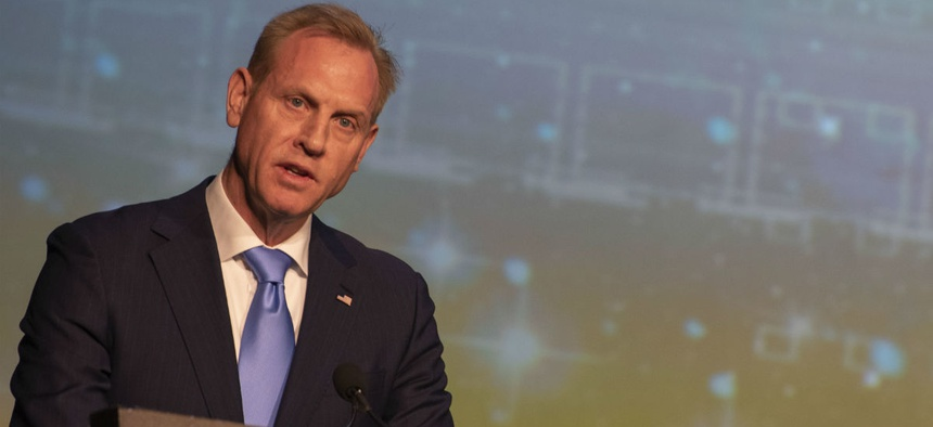 Acting Defense Secretary Patrick Shanahan delivers remarks at the 35th Space Symposium in Colorado Springs, Colo., earlier this month.