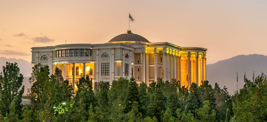 The Palace of Nations in Dushanbe, Tajikistan. The State Department IG has been asked to look into whether some U.S. Agency for Global Media coverage was slanted toward Tajikistan's president.