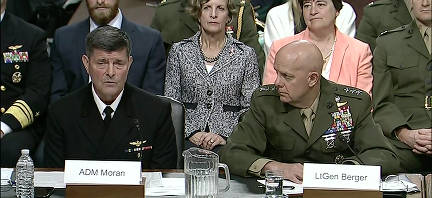 Adm. William F. Moran and Marine Corps Lt. Gen. David H. Berger testify before the Senate Armed Services Committee in Washington, April 30, 2019.