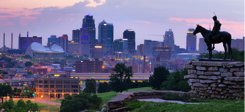 The skyline of Kansas City, Mo. The greater Kansas City area is one of the finalists for office relocations.