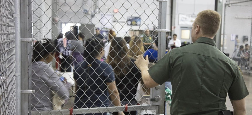 Undocumented minors are shown at the Central Processing Center in McAllen in 2018.