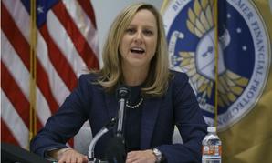 CFPB Director Kathy Kraninger speaks to the media in December.