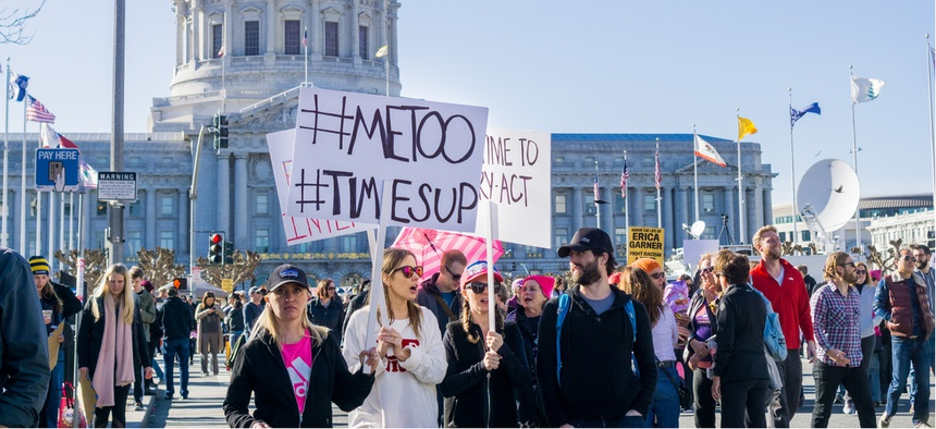 Protestors rally at a march in San Francisco in 2018.