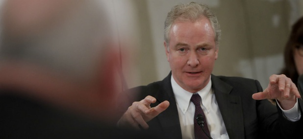 Sen. Chris Van Hollen, D-Md., questions USDA Secretary Sonny Perdue during his confirmation hearing in March 2017. Van Hollen is now trying to block Perdue's plan to relocate research offices outside the D.C. area.