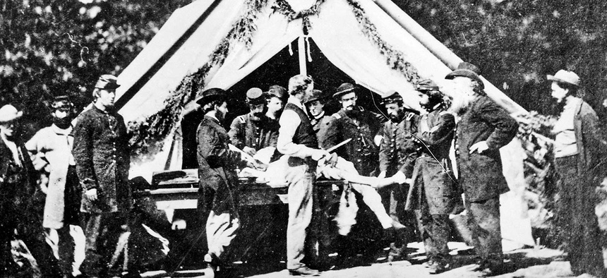 Amputation being performed in a hospital tent, Gettysburg .