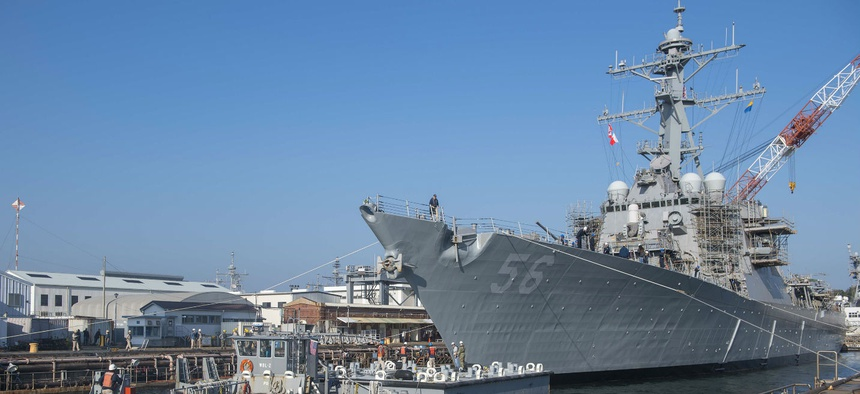 USS John S. McCain (DDG 56) prepares to depart from a dry dock at Fleet Activities Yokosuka in 2018.