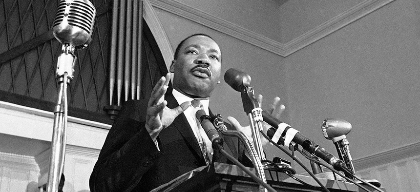 Martin Luther King Jr. speaks in Atlanta in 1960.