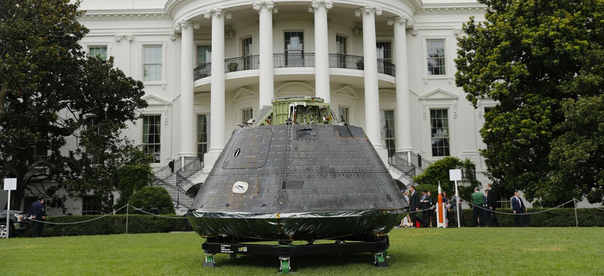 "An Orion crew module, part of NASA's Space Launch System (SLS), is on display on the South Lawn of the White House in Washington at the ""Made in America"", product showcase in 2018."