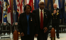 Georgia Applewhite, left, and her husband Raymond Applewhite, right, depart their retirement ceremony at Naval Hospital Camp Lejeune in 2016. They retired after a combined federal service of more than 70 years.
