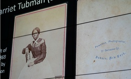A previously unknown portrait, c. 1868, of Harriet Tubman is projected on a screen before the unveiling of the photograph at The Smithsonian's National Museum of African American History and Culture in March