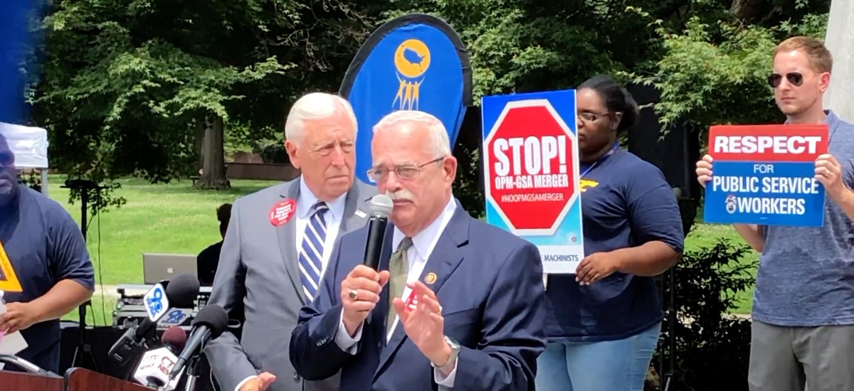 Rep. Gerry Connolly, D-Va.,  speaks at Tuesday's rally opposing the OPM-GSA merger. Connolly plans to introduce an appropriations bill amendment that would prevent the furloughs the OPM director has threatened.