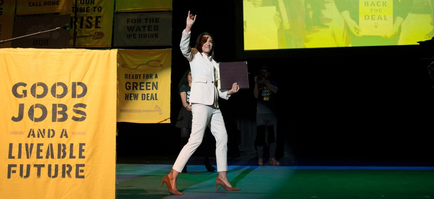 Rep. Alexandria Ocasio-Cortez, D-N.Y., speaks at the final event for the Road to the Green New Deal Tour att Howard University in Washington in May.