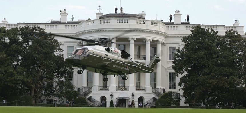 Marine Helicopter Squadron One runs test flights of the new VH-92A over the south lawn of the White House last September.