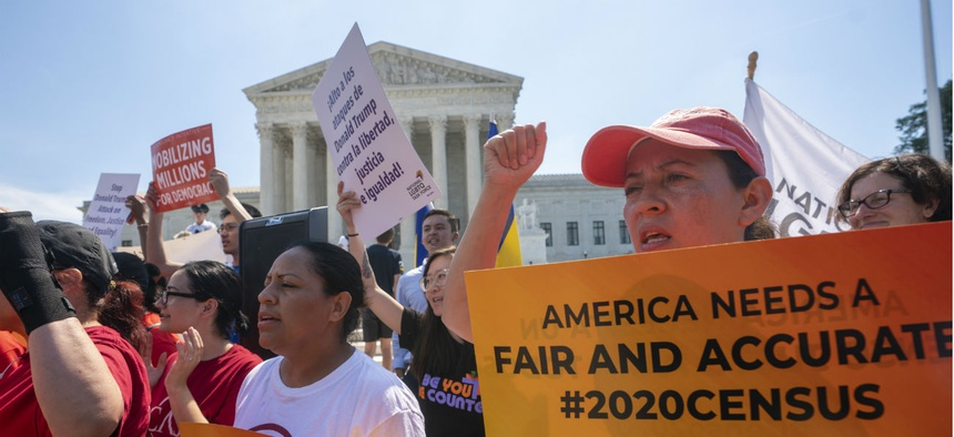 On June 27, demonstrators gather at the Supreme Court as the justices finish the term with a key decision on a case involving an attempt by the Trump administration to ask everyone about their citizenship status in the 2020 census.