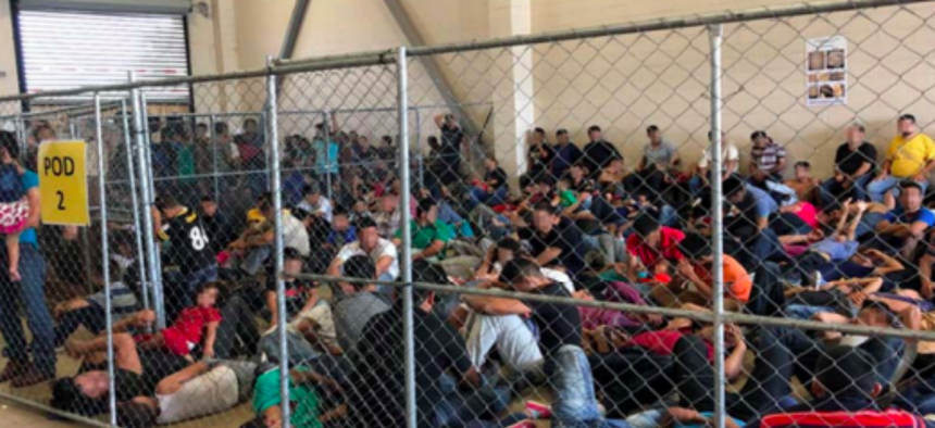 The DHS inspector general documented overcrowding of families on June 10, 2019, at Border Patrol's McAllen, Texas, Station.