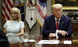 Counselor to the President Kellyanne Conway and President Trump attend a briefing on efforts to combat the opioid crisis on June 12.