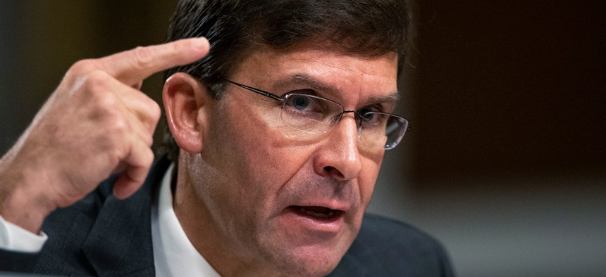 Secretary of the Army and Secretary of Defense nominee Mark Esper testifies before a Senate Armed Services Committee confirmation hearing Tuesday.