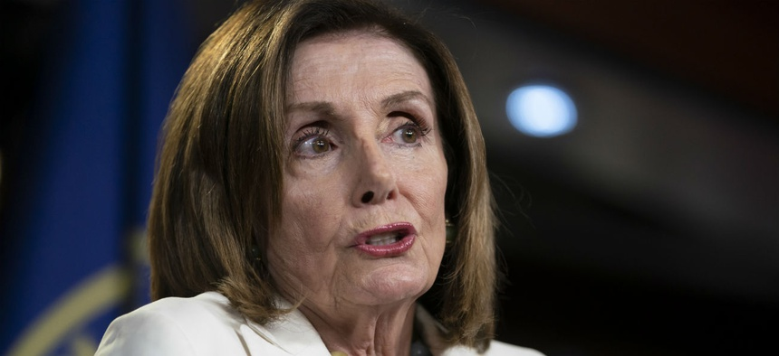 House Speaker Nancy Pelosi holds a news conference Wednesday.