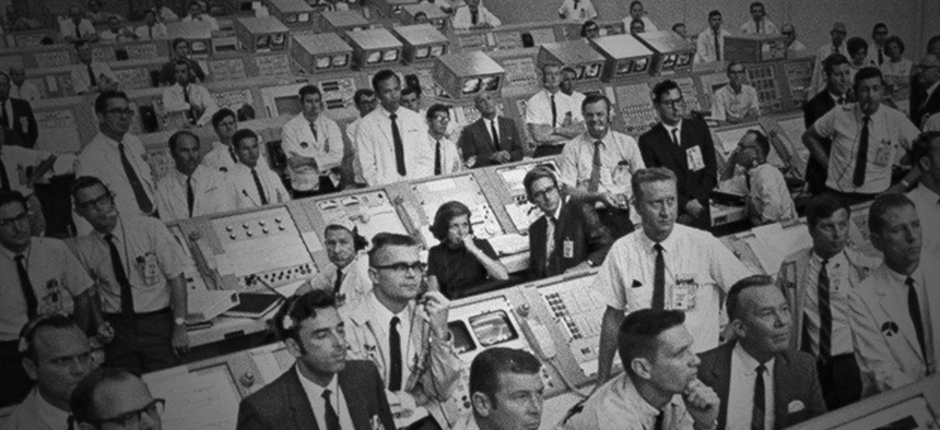 JoAnn Morgan sits at the center of the in the firing room during the launch of Apollo 11.