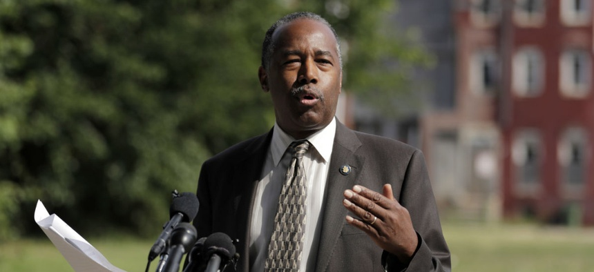 Housing and Urban Development Secretary Ben Carson speaks during a news conference after touring the Hollins House in Baltimore on Wednesday.