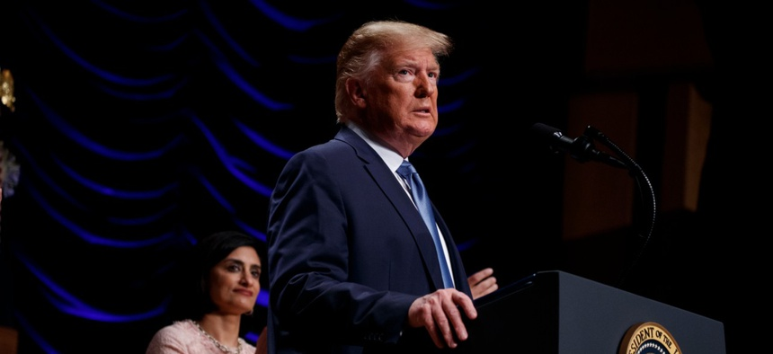 Seema Verma, the administrator of the Centers for Medicare and Medicaid Services and President Donald Trump at the Ronald Reagan Building and International Trade Center, on July 10, 2019, in Washington, D.C.