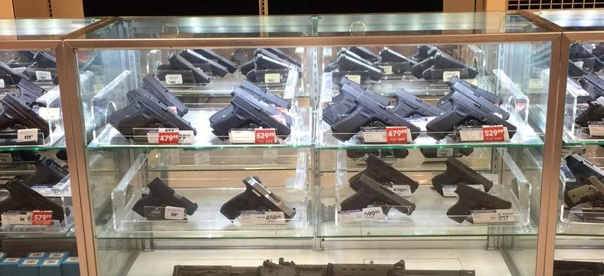 Guns on sale in a Louisiana shop in 2017.