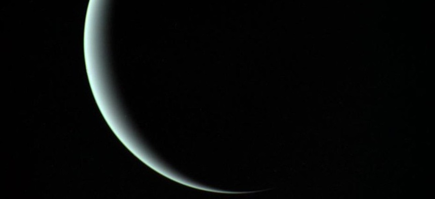 Uranus as seen by Voyager 2 on its way deeper into space.