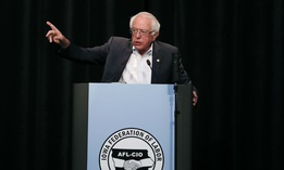 Democratic presidential candidate Sen. Bernie Sanders, I-Vt., speaks at the Iowa Federation of Labor convention on Wednesday.