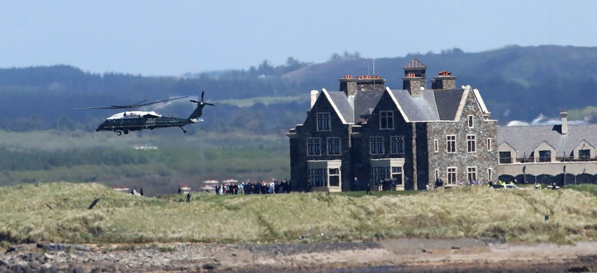 Marine One takes off from Doonbeg during Donald Trump's visit in June 2019.