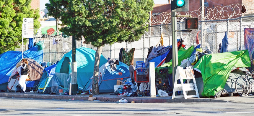 A homeless encampment is shown in Los Angeles in 2018.