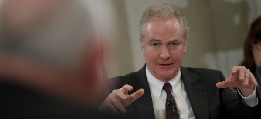 Sen. Chris Van Hollen, D-Md., said that in conference committee he will push for a bigger pay raise and language to block USDA relocations.