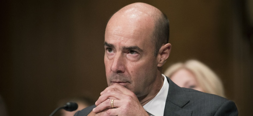 Eugene Scalia listens during his nomination hearing last week.