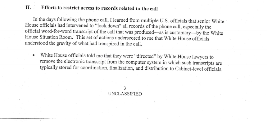 Screenshot of the August 12, 2019, whistleblower memo about alleged attempts by President Trump to solicit information from foreign powers to sway U.S. elections.