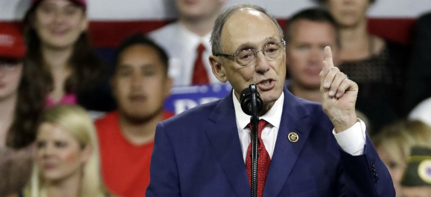 "Rep. Phil Roe, R-Tenn., speaks at a rally for President Trump last fall. Roe said union incentive payments for federal employees to join are a ""shocking"" practice."